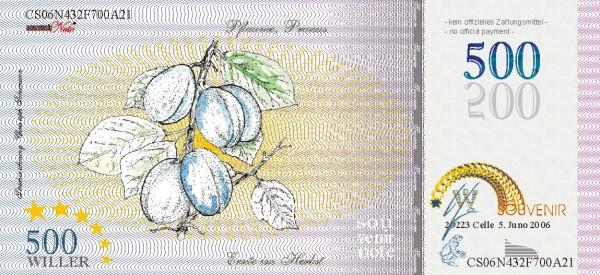 Die Pflaume, eine Souvenir Note zum Sammeln