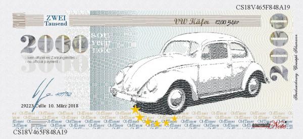 Der VW Käfer, eine Souvenir Note zum Sammeln