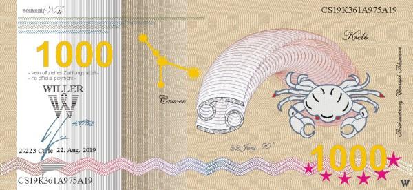 Krebs, eine Souvenir Note zum Sammeln