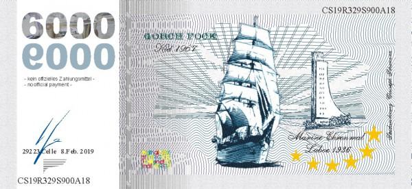 Die Gorch Fock, eine Souvenir Note zum Sammeln