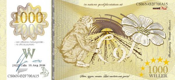 Die Bohne, eine Souvenir Note zum Sammeln