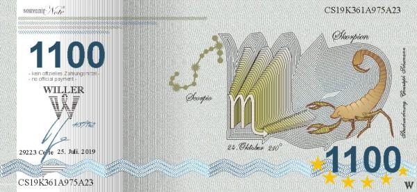 Skorpion, eine Souvenir Note zum Sammeln