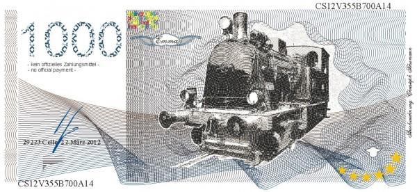 Die Lok Emma, eine Souvenir Note zum Sammeln