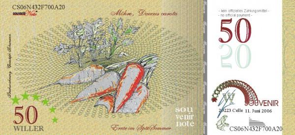 Die Karotte, Souvenir Note zum Sammeln