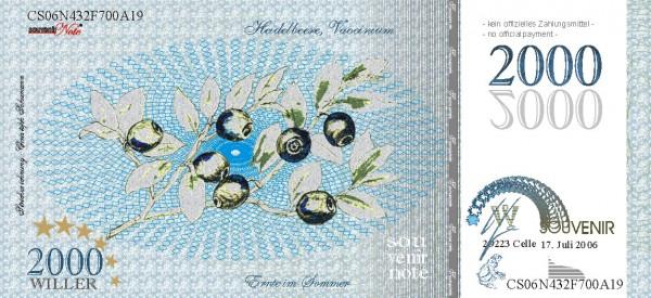 Die Heidelbeere, eine Souvenir Note zum Sammeln